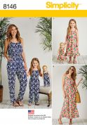 Simplicity Ladies, Girls & Doll Clothes Sewing Pattern 8146 Jumpsuits & Dresses