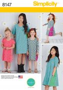 Simplicity Girls Easy Sewing Pattern 8147 Simple Knit Dresses