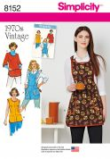 Simplicity Ladies Easy Sewing Pattern 8152 1970s Vintage Style Aprons