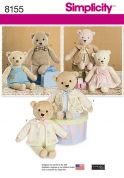 Simplicity Crafts Sewing Pattern 8155 Stuffed Bears with Clothes Toys