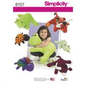 Simplicity Crafts Easy Sewing Pattern 8157 Stuffed Frog, Lady Bug & Bull Toys in Two Sizes