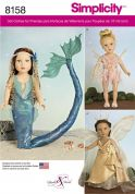 Simplicity Crafts Sewing Pattern 8158 Doll Clothes Fantasy Costumes