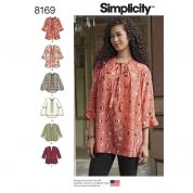 Simplicity Ladies Sewing Pattern 8169 Loose Fitting Tunic Blouse Top