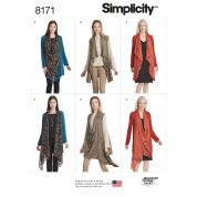 Simplicity Ladies Easy Sewing Pattern 8171 Jersey Knit Cardigan Tops or Waistcoat