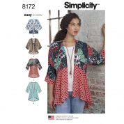 Simplicity Ladies Easy Sewing Pattern 8172 Kimono Tops with Length, Fabric & Trim Variations