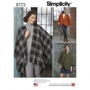 Simplicity Ladies Easy Sewing Pattern 8173 Fleece Poncho Wraps