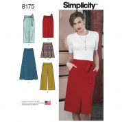 Simplicity Ladies Sewing Pattern 8175 Slim & Flared Skirts, Cropped Trousers & Tie Belt