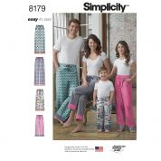 Simplicity Family Easy Sewing Pattern 8179 Casual Lounge Pants & Pyjamas Bottoms