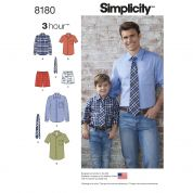 Simplicity Men & Boys Easy Sewing Pattern 8180 Shirt, Boxer Shorts & Tie
