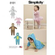 Simplicity Baby Easy Sewing Pattern 8181 Novelty Knit & Fleece Rompers