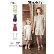 Simplicity Girls Sewing Pattern 8183 Dresses with Skirt Variations
