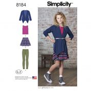 Simplicity Girls Sewing Pattern 8184 Skirt, Knit Top, Cardigan & Leggings