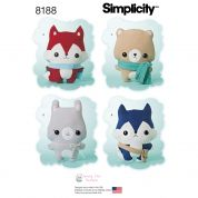 Simplicity Crafts Easy Sewing Pattern 8188 Stuffed Fox, Wolf, Bear & Bunny Cuddly Toys