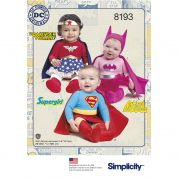 Simplicity Baby Sewing Pattern 8193 Wonder Woman, Supergirl & Batgirl Costumes