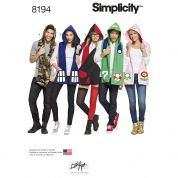 Simplicity Mens & Ladies Easy Sewing Pattern 8194 Hooded Scarves with Appliques