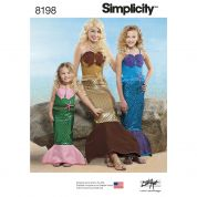 Simplicity Ladies & Girls Easy Sewing Pattern 8198 Mermaid Costumes