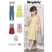 Simplicity Girls Sewing Pattern 8202 Jumpsuits, Dresses & Bag
