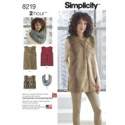 Simplicity Ladies Easy Sewing Pattern 8219 Lined Waistcoat in Three Lengths & Scarf