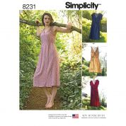 Simplicity Ladies Sewing Pattern 8231 Dresses in Two Lengths