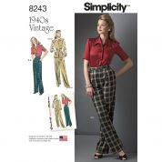 Simplicity Ladies Sewing Pattern 8243 1940's Vintage Style Blouse Top, Waistcoat & Trousers