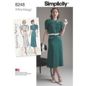 Simplicity Ladies Sewing Pattern 8248 1930s Vintage Style Dresses