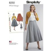 Simplicity Ladies Sewing Pattern 8250 1950s Vintage Style Skirt & Bolero