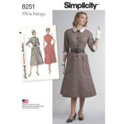 Simplicity Ladies Sewing Pattern 8251 1950's Vintage Style One Piece Dresses