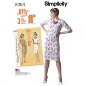 Simplicity Ladies Easy Sewing Pattern 8253 1960s Vintage Style Jiffy Dresses