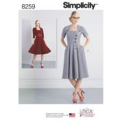 Simplicity Ladies Sewing Pattern 8259 Vintage Style Button Front Dresses