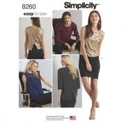 Simplicity Ladies Easy Sewing Pattern 8260 Top in Two Lengths with Back Interest