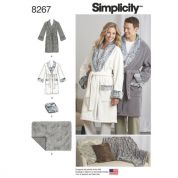 Simplicity Adults & Teenagres Sewing Pattern 8267 Dressing Gown, Blanket & Cushions