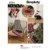 Simplicity Home Easy Sewing Pattern 8284 Christmas Stocking, Tree Skirt, Throw & Pet Toys
