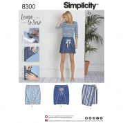 Simplicity Ladies Easy Learn to Sew Sewing Pattern 8300 Summer Skirts