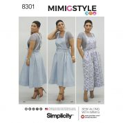 Simplicity Ladies Sewing Pattern 8301 Overalls, Dress & Knit Crop Top