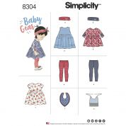 Simplicity Baby Easy Sewing Pattern 8304 Leggings, Top, Dress, Bibs & Headband