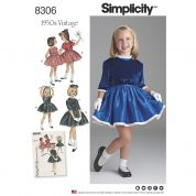 Simplicity Girls Sewing Pattern 8306 1950s Vintage Style Dress & Jacket