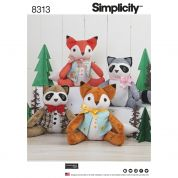 Simplicity Craft Easy Sewing Pattern 8313 Stuffed Fox & Badger Toys