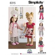Simplicity Craft Easy Sewing Pattern 8315 Chef Doll Clothes