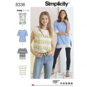 Simplicity Ladies Easy Sewing Pattern 8336 Knit Tops with Trim Variations
