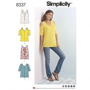 Simplicity Ladies Easy Sewing Pattern 8337 Jersey Knit Tops