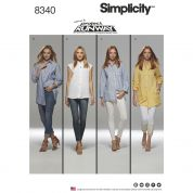 Simplicity Ladies Sewing Pattern 8340 Shirts in 4 Styles
