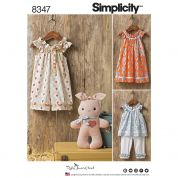Simplicity Baby Easy Sewing Pattern 8347 Dress, Top, Capris & Stuffed Bunny