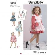 Simplicity Girls Sewing Pattern 8348 1950s Vintage Style Dresses & Pinafores