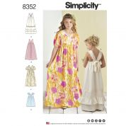 Simplicity Girls Sewing Pattern 8352 Dresses With Bodice & Skirt Variations