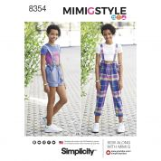 Simplicity Girls Sewing Pattern 8354 Overalls & Cropped Knit Tee