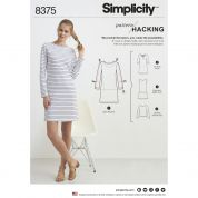Simplicity Ladies Easy Pattern Hacking Sewing Pattern 8375 Knit Dresses & Tops