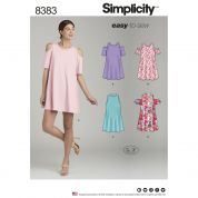Simplicity Ladies Easy Sewing Pattern 8383 Knit Trapeze Dresses