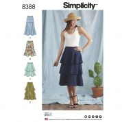Simplicity Ladies Sewing Pattern 8388 Skirts with Flounce Variations