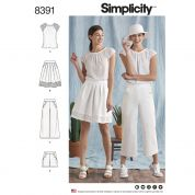 Simplicity Ladies Sewing Pattern 8391 Top, Skirt, Pants & Shorts
