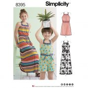 Simplicity Girls Sewing Pattern 8395 Halter Dress & Romper